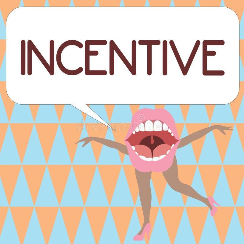 Muestra del texto que muestra incentivo Cosa conceptual de la foto que motiva o anima alguien a hacer algo stock de ilustración