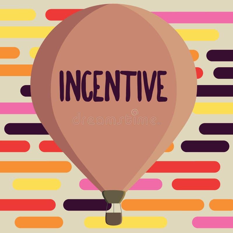 Muestra del texto que muestra incentivo Cosa conceptual de la foto que motiva o anima alguien a hacer algo ilustración del vector