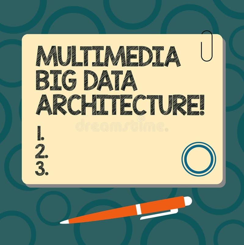 Muestra del texto que muestra la arquitectura de Big Data de las multimedias Cuadrado en línea del espacio en blanco de la red de stock de ilustración