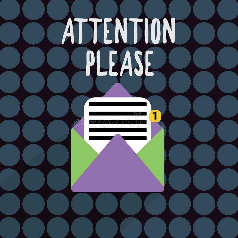 Muestra del texto que muestra la atención por favor Foto conceptual que pide la compensación de la gente que hace cualquier cosa  stock de ilustración