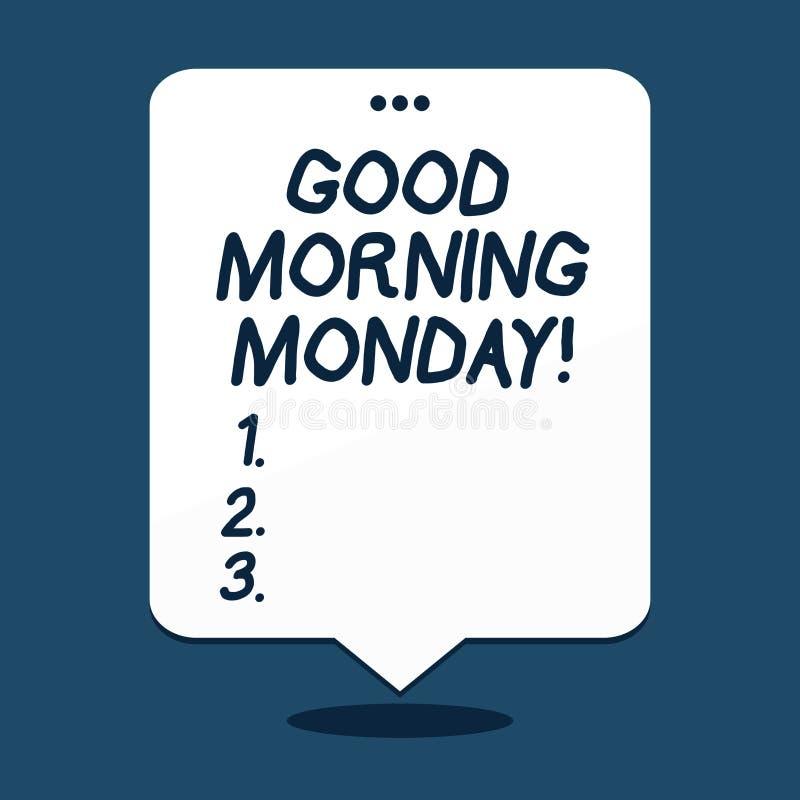 Muestra del texto que muestra la buena mañana lunes Desayuno enérgico de la positividad feliz conceptual de la foto stock de ilustración