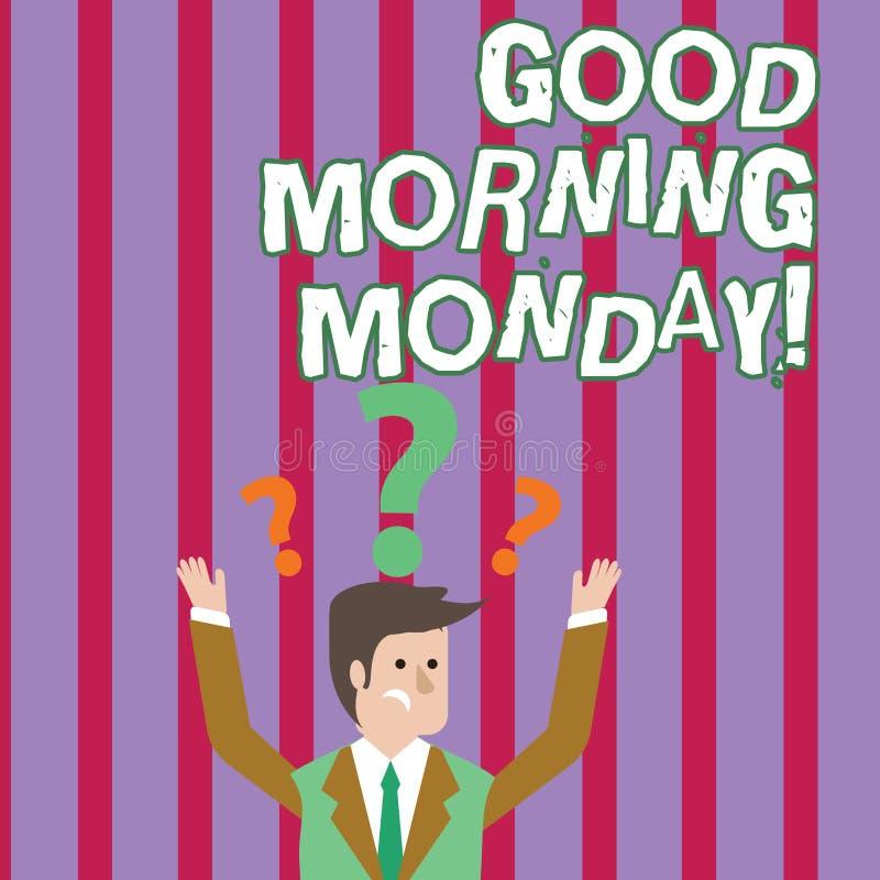 Muestra del texto que muestra la buena mañana lunes Desayuno enérgico de la positividad feliz conceptual de la foto libre illustration