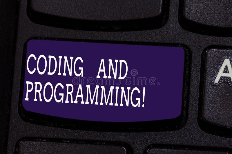 Muestra del texto que muestra la codificación y la programación Diseño conceptual de la foto y construir una llave de teclado eje imágenes de archivo libres de regalías