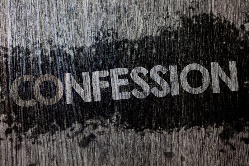 Muestra del texto que muestra la confesión Backgrou de madera de madera de la foto de la admisión de la revelación del acceso de  imágenes de archivo libres de regalías