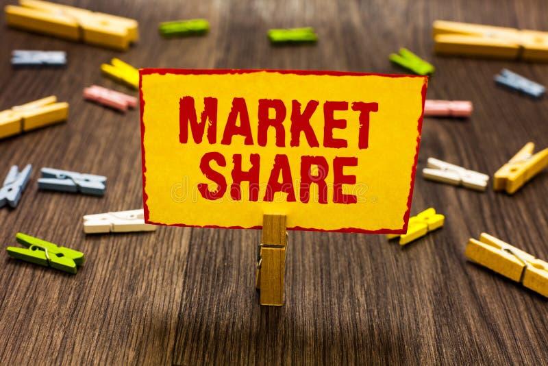 Muestra del texto que muestra la cuota de mercado Foto conceptual la porción de un mercado controlado por una pinza particular de foto de archivo libre de regalías