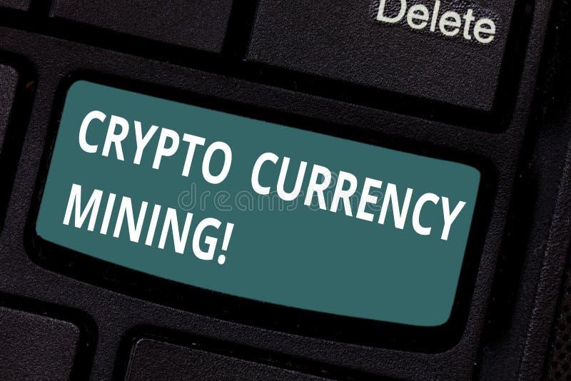 Muestra del texto que muestra la explotación minera Crypto de la moneda Disco conceptual de la transacción de grabación de la fot fotografía de archivo