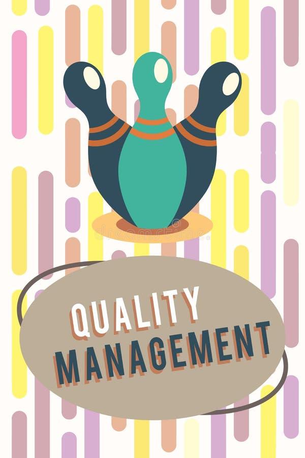 Muestra del texto que muestra a la gestión de calidad La foto conceptual mantiene servicios llanos del producto de la mayor nivel ilustración del vector