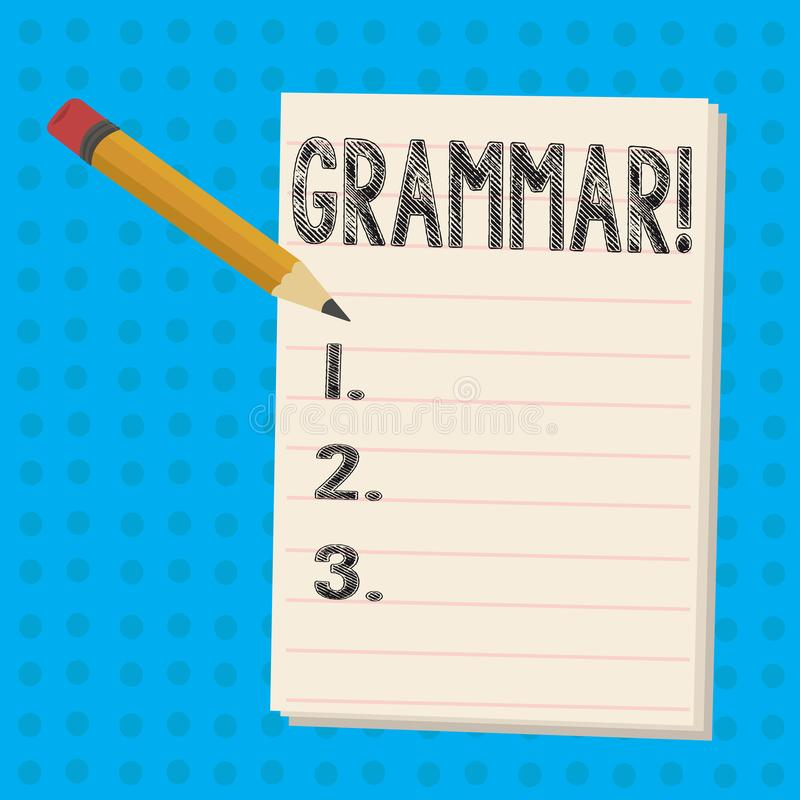 Muestra del texto que muestra la gramática El sistema de la foto y la estructura conceptuales de las reglas de una escritura de l stock de ilustración
