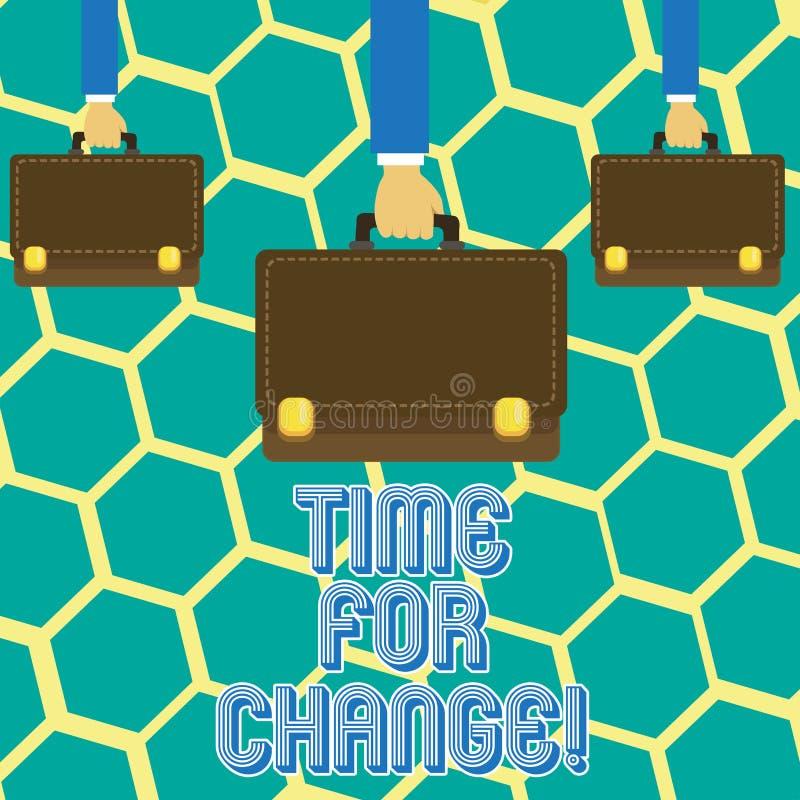 Muestra del texto que muestra la hora para el cambio La transición conceptual de la foto crece para mejorar transforma para conve libre illustration