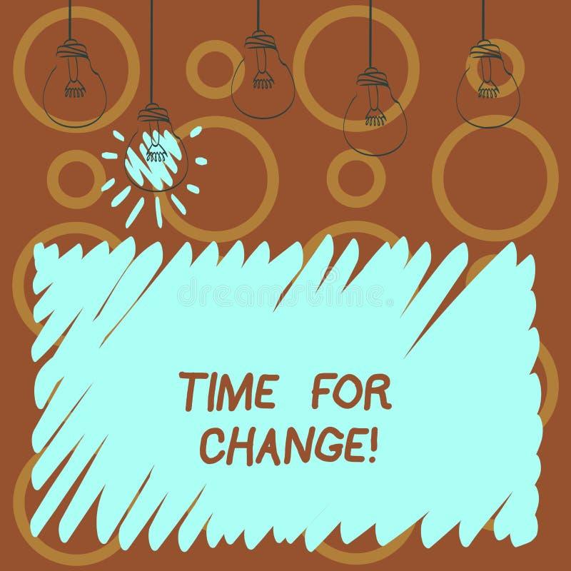 Muestra del texto que muestra la hora para el cambio La transición conceptual de la foto crece para mejorar transforma para conve stock de ilustración