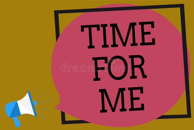 Muestra del texto que muestra la hora para mí Foto conceptual tardaré un momento para estar mí mismo medito relajo loudspea del m ilustración del vector