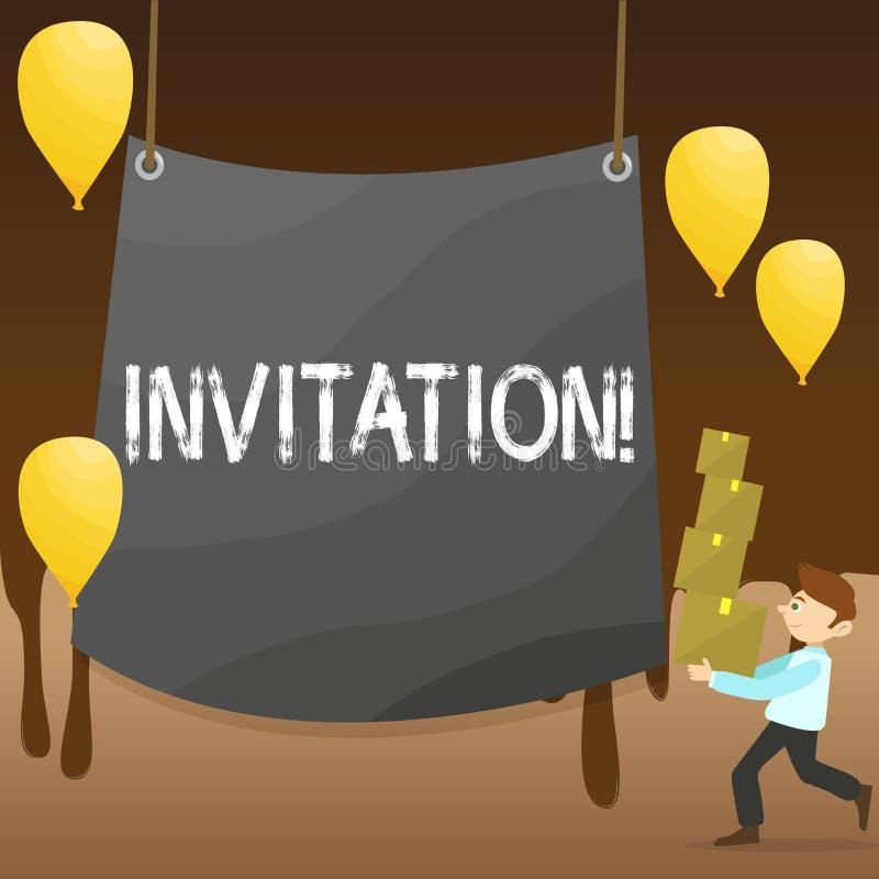 Muestra del texto que muestra la invitación Petición escrita o verbal de la foto conceptual alguien de ir en alguna parte o de ha libre illustration