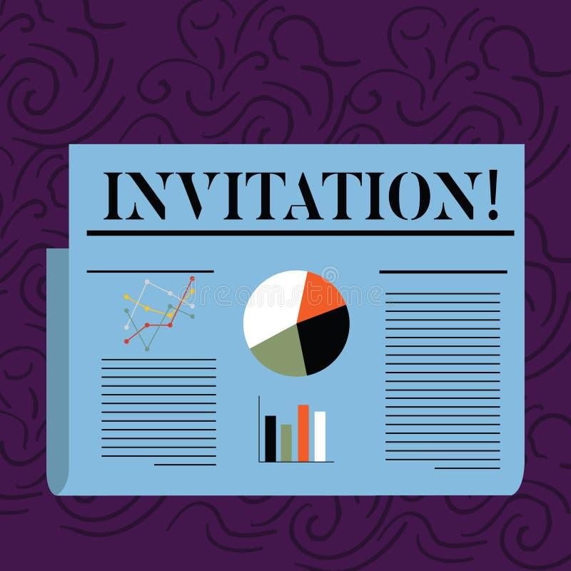 Muestra del texto que muestra la invitación Petición escrita o verbal de la foto conceptual alguien de ir en alguna parte o de ha stock de ilustración