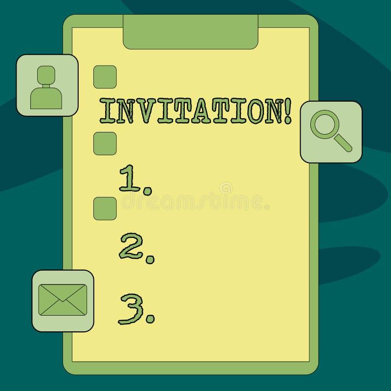 Muestra del texto que muestra la invitación Petición escrita o verbal de la foto conceptual alguien de ir en alguna parte o de ha ilustración del vector