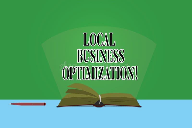 Muestra del texto que muestra la optimización local del negocio La foto conceptual promueve productos y los servicios al color lo libre illustration