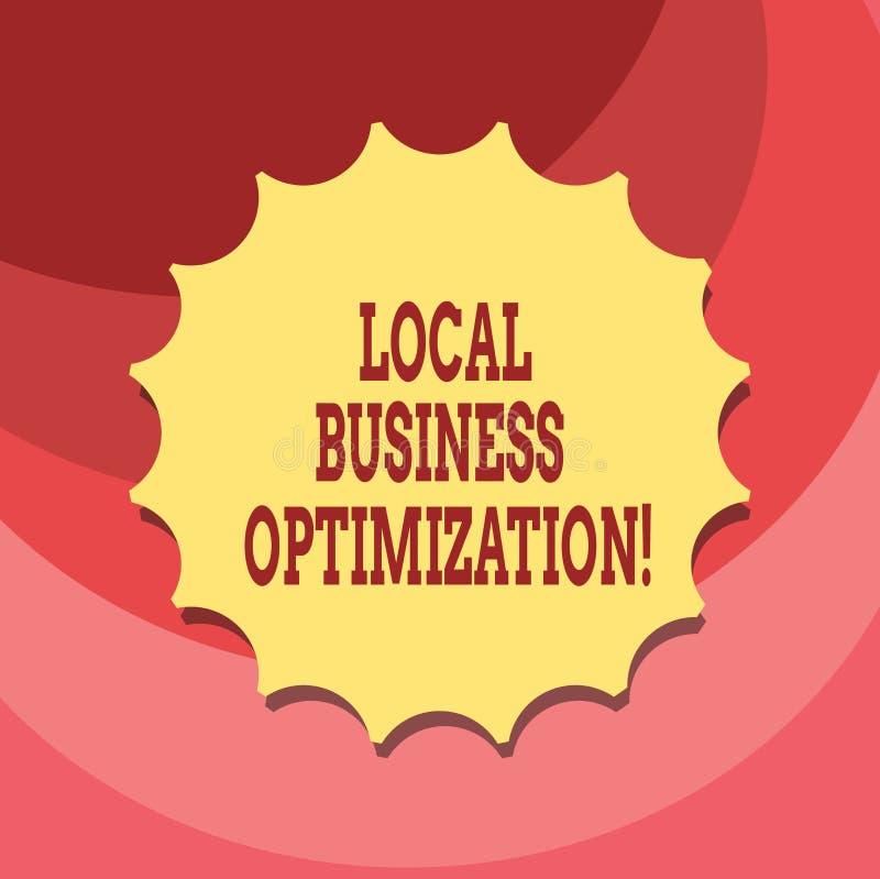 Muestra del texto que muestra la optimización local del negocio La foto conceptual promueve productos y los servicios a los clien stock de ilustración