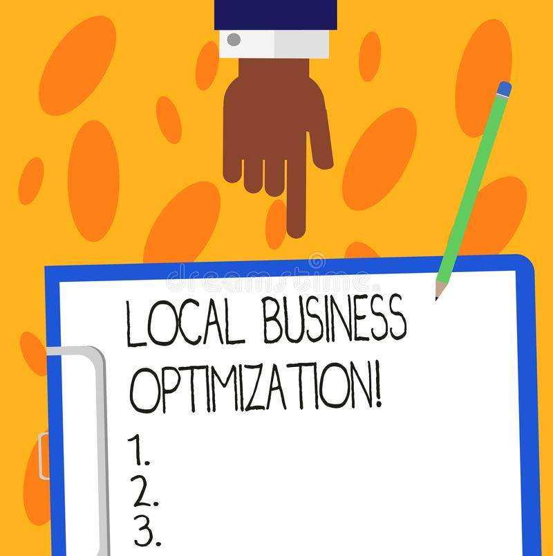 Muestra del texto que muestra la optimización local del negocio La foto conceptual promueve productos y servicios a los clientes  stock de ilustración