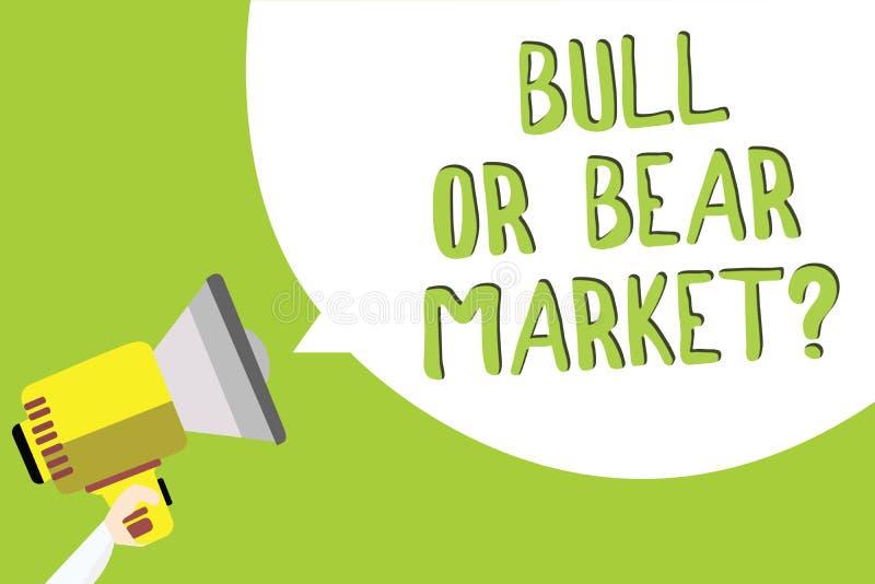 Muestra del texto que muestra la pregunta de Bull o del mercado bajista Foto conceptual que pregunta a alguien acerca de su mensa libre illustration
