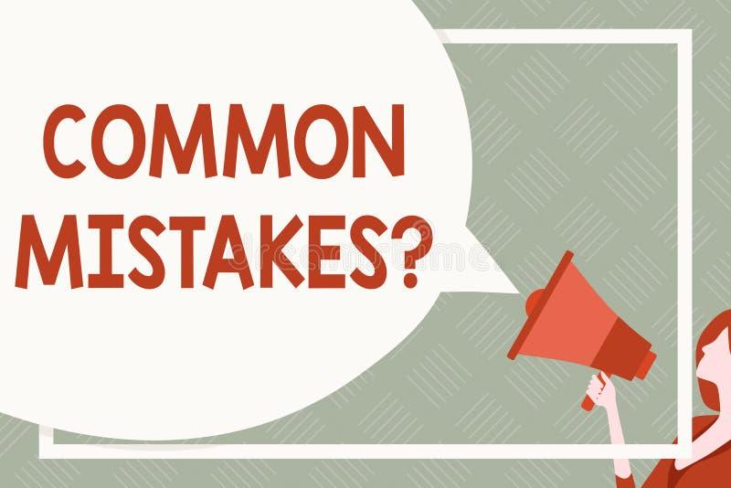 Muestra del texto que muestra la pregunta de los errores comunes Acto o juicio conceptual de la repetici?n de la foto equivocado  ilustración del vector