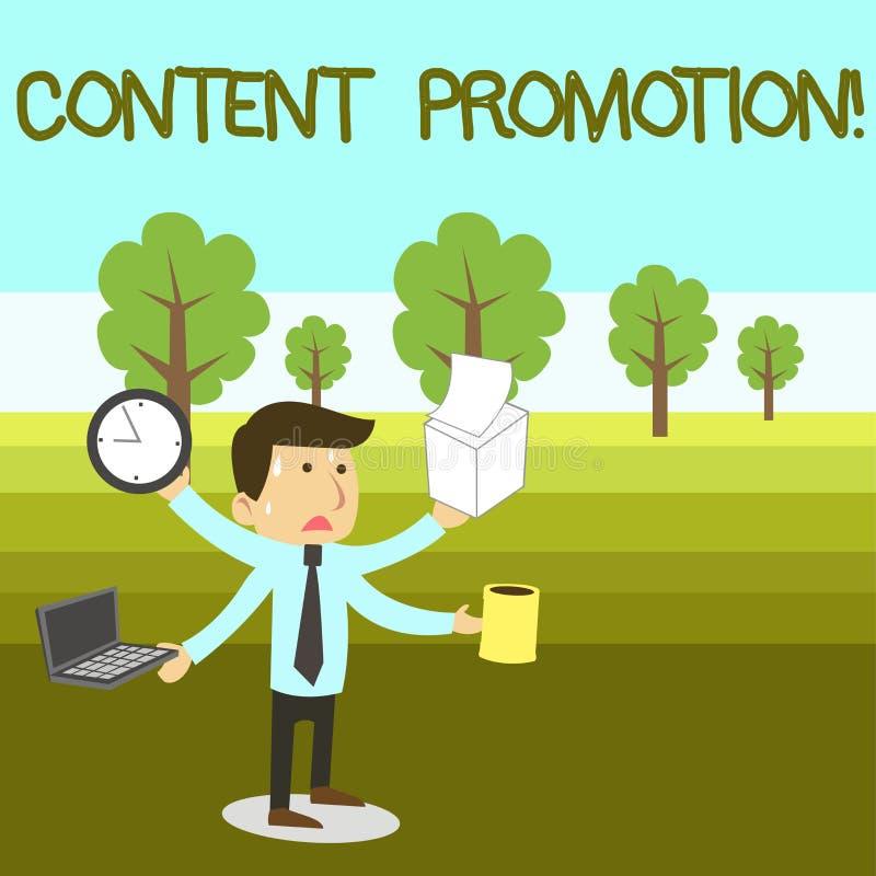 Muestra del texto que muestra la promoción contenta La foto conceptual sobre conseguir contenta delante de la audiencia adecuada  stock de ilustración