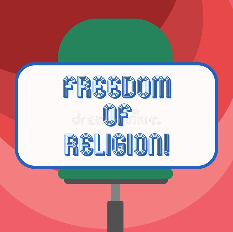 Muestra del texto que muestra libertad La derecha conceptual de la foto de practicar cualquier religión una elige el espacio en b stock de ilustración