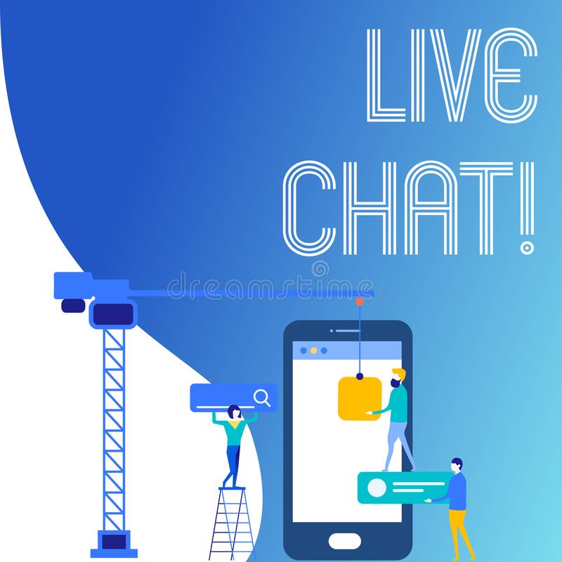 Muestra del texto que muestra a Live Chat Servicio web conceptual de la foto que permite que los negocios o los amigos comuniquen ilustración del vector