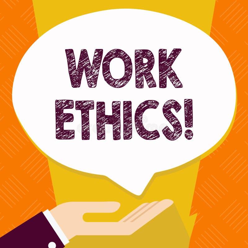 Muestra del texto que muestra los éticas de trabajo Principio conceptual de la foto que elabora difícilmente la palma digna intrí ilustración del vector