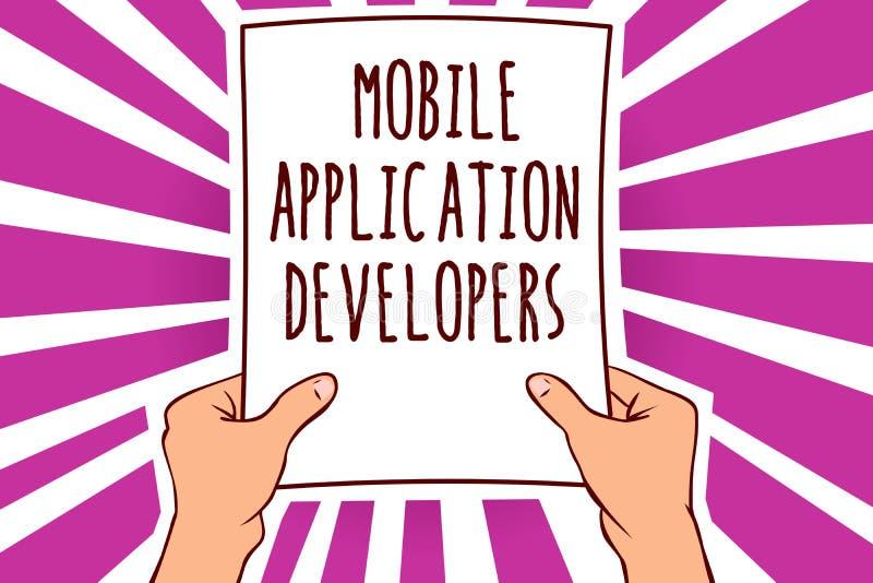 Muestra del texto que muestra los desarrolladores de aplicación móvil La foto conceptual crea el software para los dispositivos c ilustración del vector