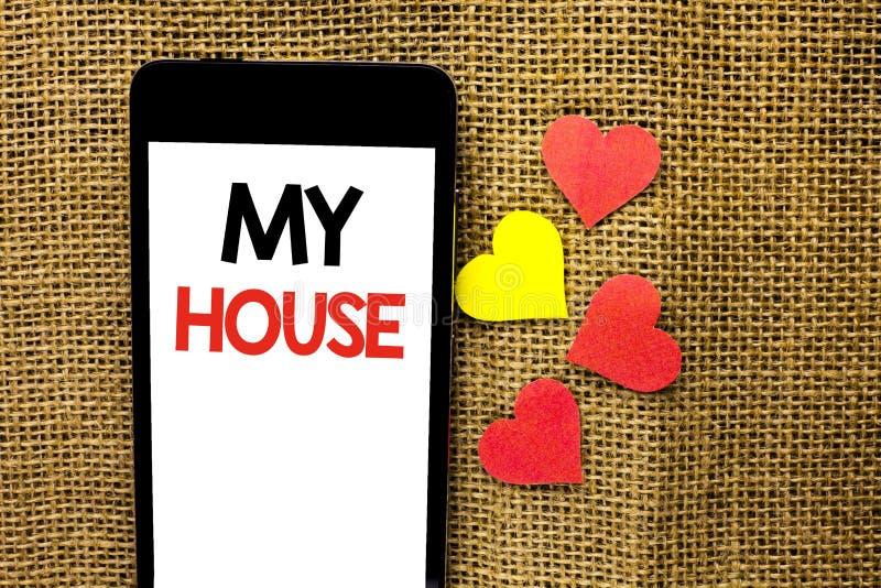 Muestra del texto que muestra mi casa Estado residencial del hogar de familia de la propiedad de la foto del hogar conceptual de  imagen de archivo