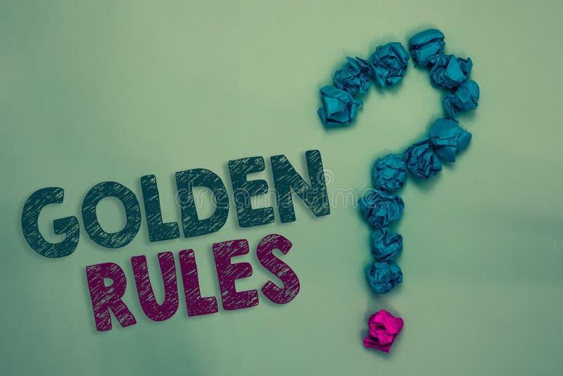 Muestra del texto que muestra normas de oro El principio de base de la foto conceptual que debe ser principio importante seguido  fotos de archivo