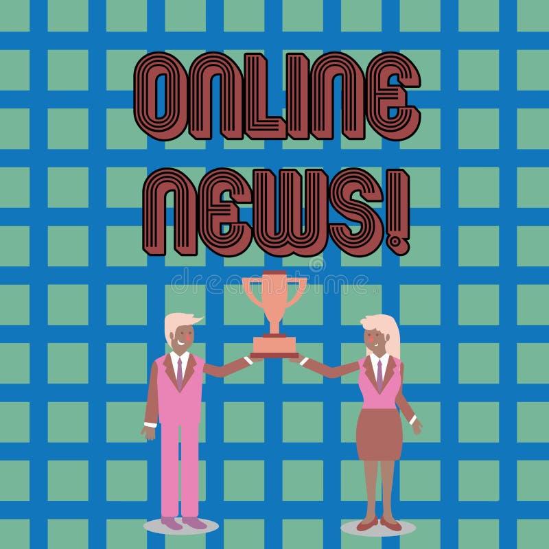 Muestra del texto que muestra noticias en línea La foto conceptual recibió nuevamente o información significativa sobre hombre de stock de ilustración