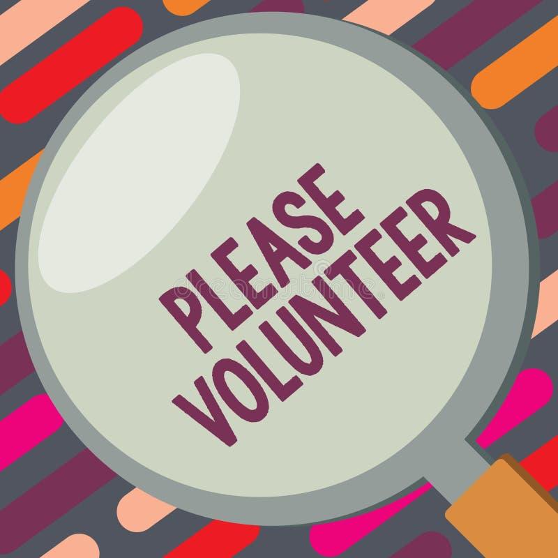 Muestra del texto que muestra por favor al voluntario Foto conceptual que busca alguien que trabaja sin ser pagado libre illustration