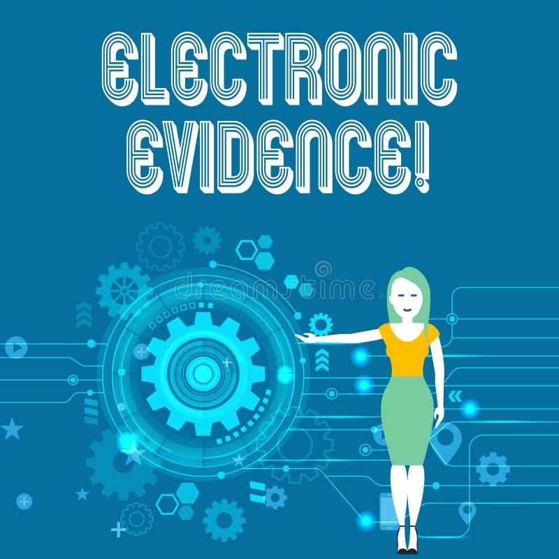 Muestra del texto que muestra pruebas electr?nicas La información probatoria de la foto conceptual almacenó o transmite en mujer  stock de ilustración