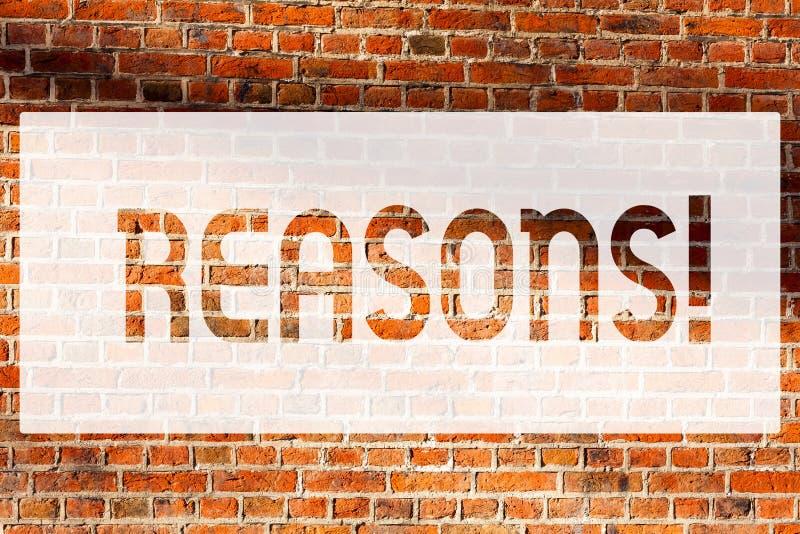 Muestra del texto que muestra razones La foto conceptual causa las justificaciones de las explicaciones para un arte de la pared  imagen de archivo libre de regalías