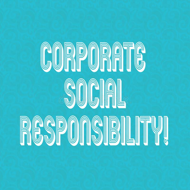 Muestra del texto que muestra responsabilidad social corporativa Política de la foto conceptual o tono medio de organización inte ilustración del vector
