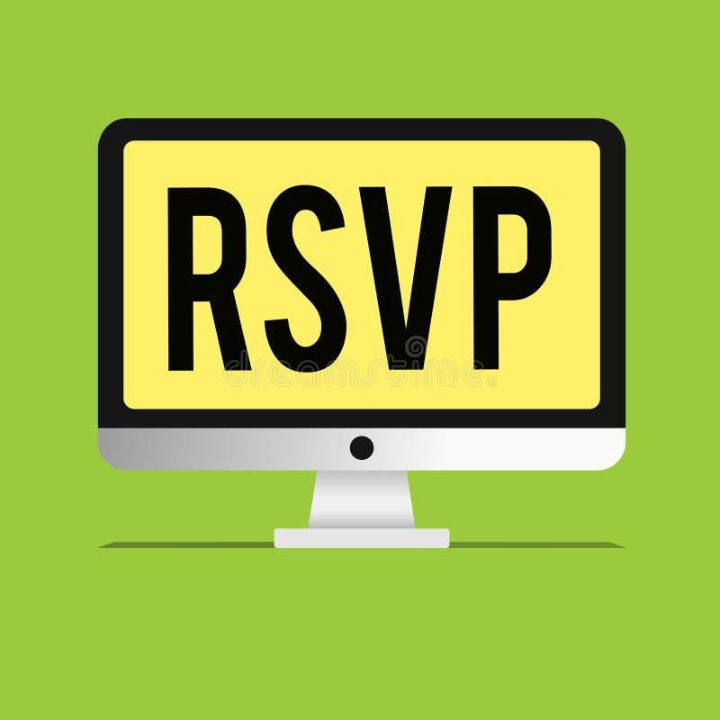 Muestra del texto que muestra RSVP La foto conceptual contesta por favor a una invitación que indica si una planea asistir ilustración del vector