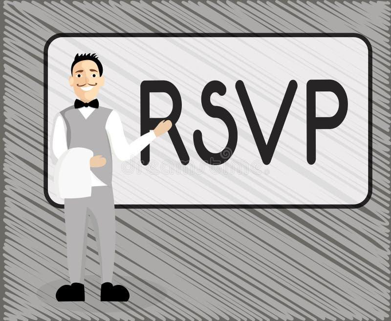 Muestra del texto que muestra RSVP La foto conceptual contesta por favor a una invitación que indica si una planea asistir stock de ilustración