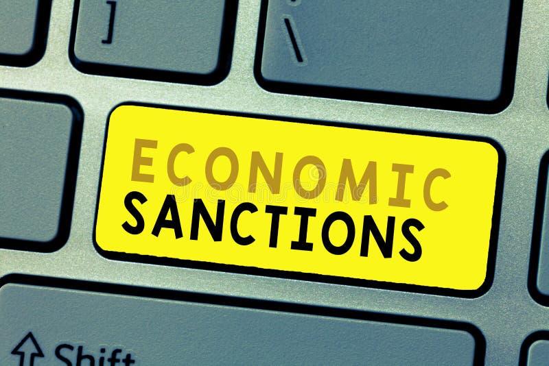 Muestra del texto que muestra sanciones económicas Castigo conceptual de la pena de la foto impuesto en otra guerra comercial del foto de archivo