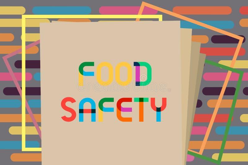 Muestra del texto que muestra seguridad alimentaria Condiciones y prácticas conceptuales de la foto que preservan la calidad de l stock de ilustración