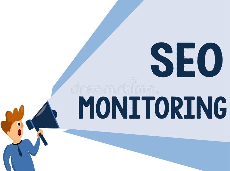 Muestra del texto que muestra a Seo Monitoring Foto conceptual que sigue el progreso de la estrategia hecho en la plataforma stock de ilustración