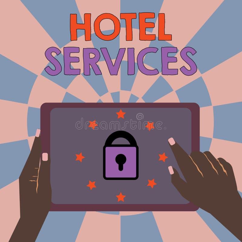 Muestra del texto que muestra servicios de hotel Amenidades conceptuales de las instalaciones de la foto de una casa del alojamie libre illustration