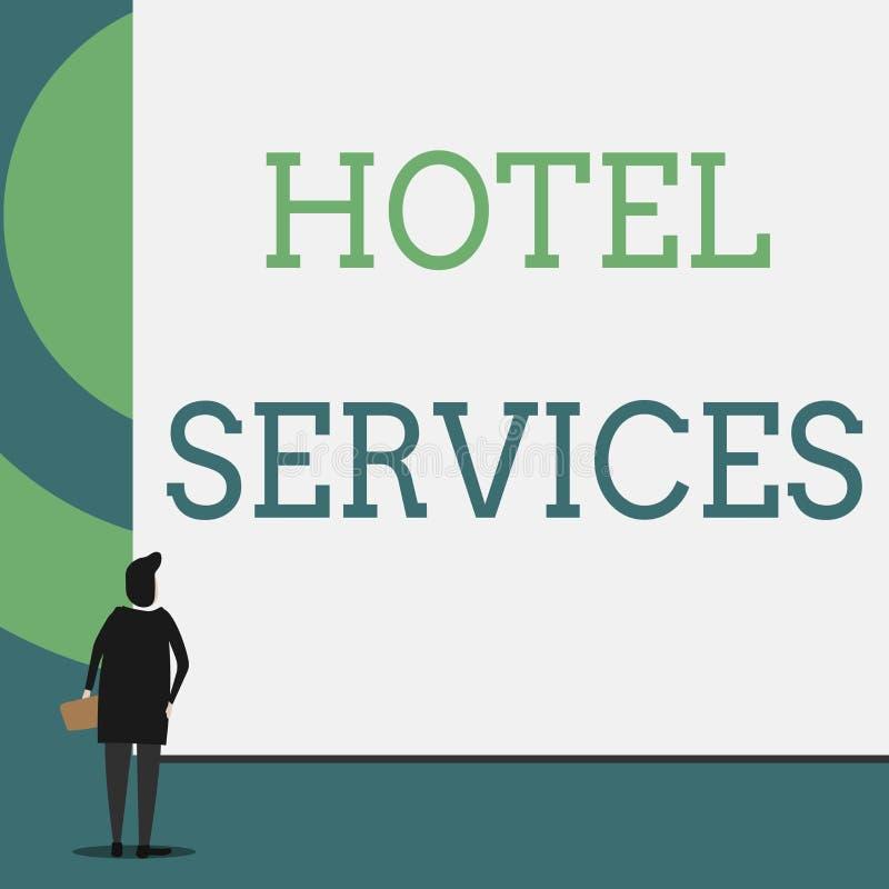 Muestra del texto que muestra servicios de hotel Amenidades conceptuales de las instalaciones de la foto de una opinión trasera d libre illustration