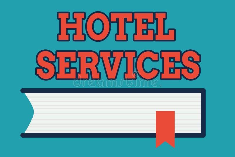 Muestra del texto que muestra servicios de hotel Amenidades conceptuales de las instalaciones de la foto de una vista lateral de  stock de ilustración