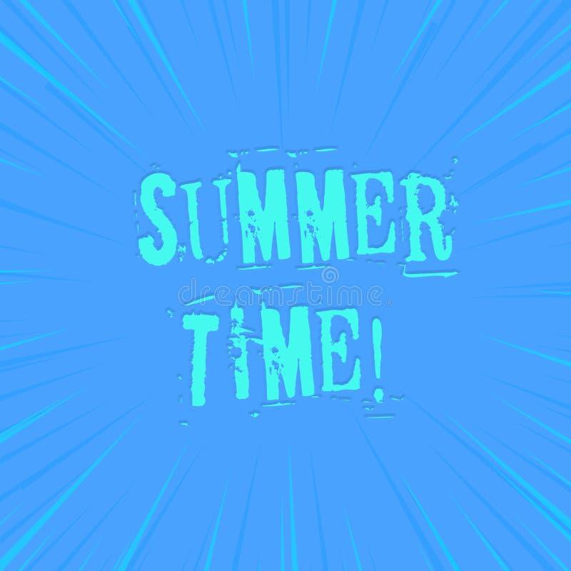 Muestra del texto que muestra tiempo de verano Foto conceptual alcanzar un verano de igualación más largo de la luz del día que f stock de ilustración