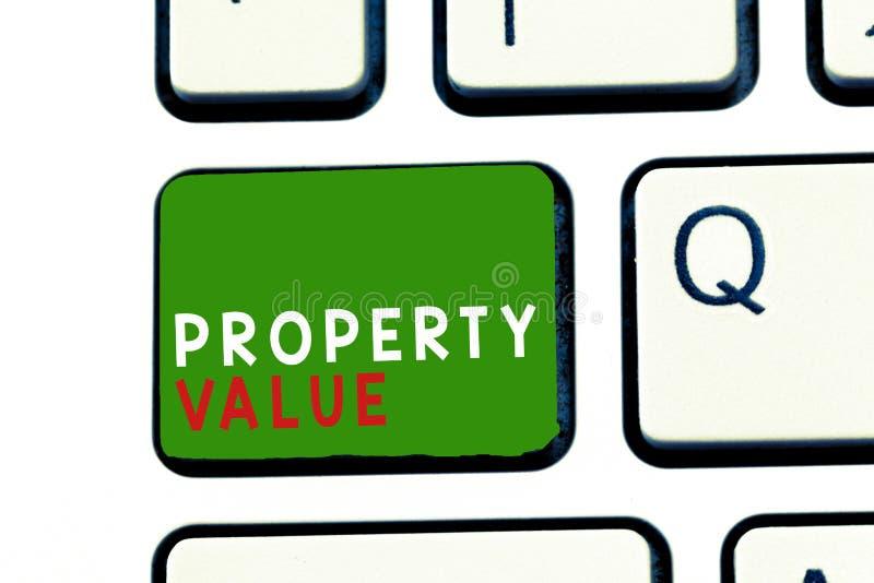 Muestra del texto que muestra valor de una propiedad Valor conceptual de la foto de un precio de mercado justo de la valoración d fotos de archivo libres de regalías