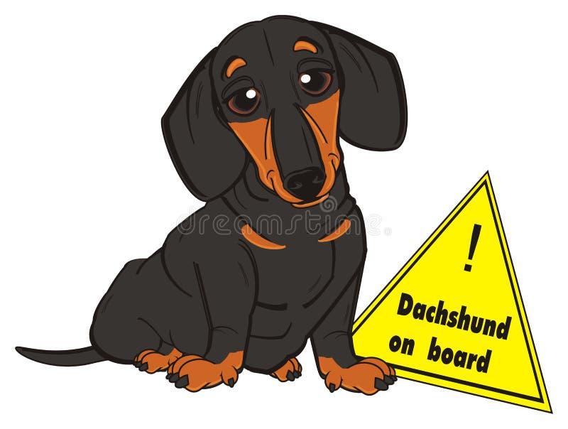 Muestra del triangel del perro basset y del camino stock de ilustración