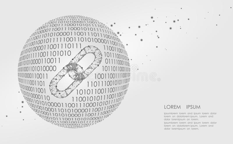 Muestra del vínculo de Blockchain bajo polivinílica International de tierra poligonal del planeta del enlace hipertexto del trián libre illustration