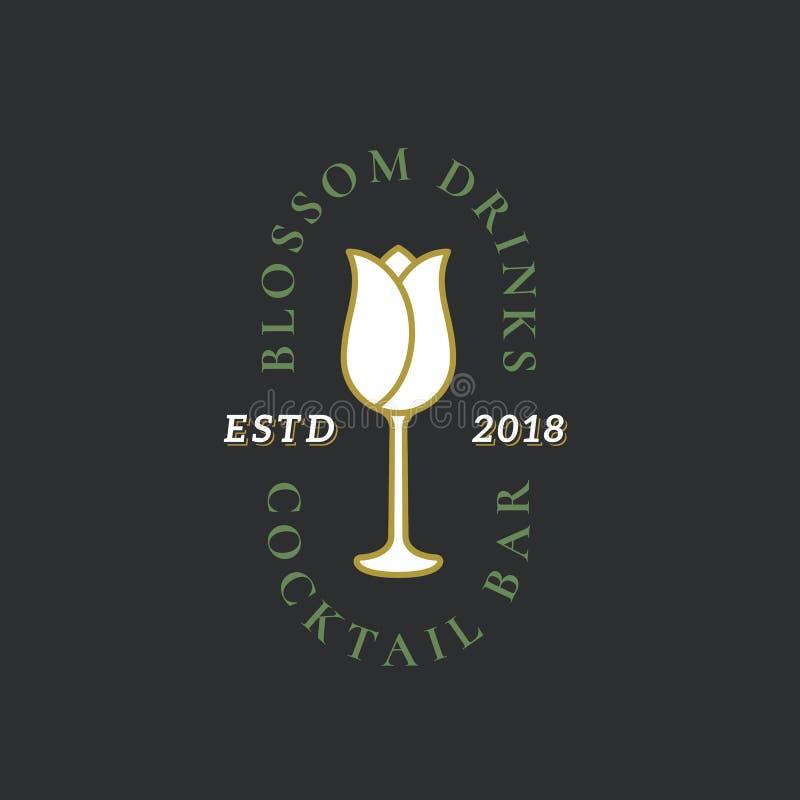 Muestra del vector del cóctel o del bar de vinos, símbolo o Logo Template abstracto Flor incorporada en el ejemplo de la copa de  ilustración del vector