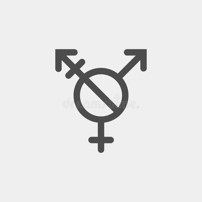 Muestra del vector de Agender Símbolo del transexual de la versión alternativa incluyendo sabido NINGUNA raya vertical ilustración del vector