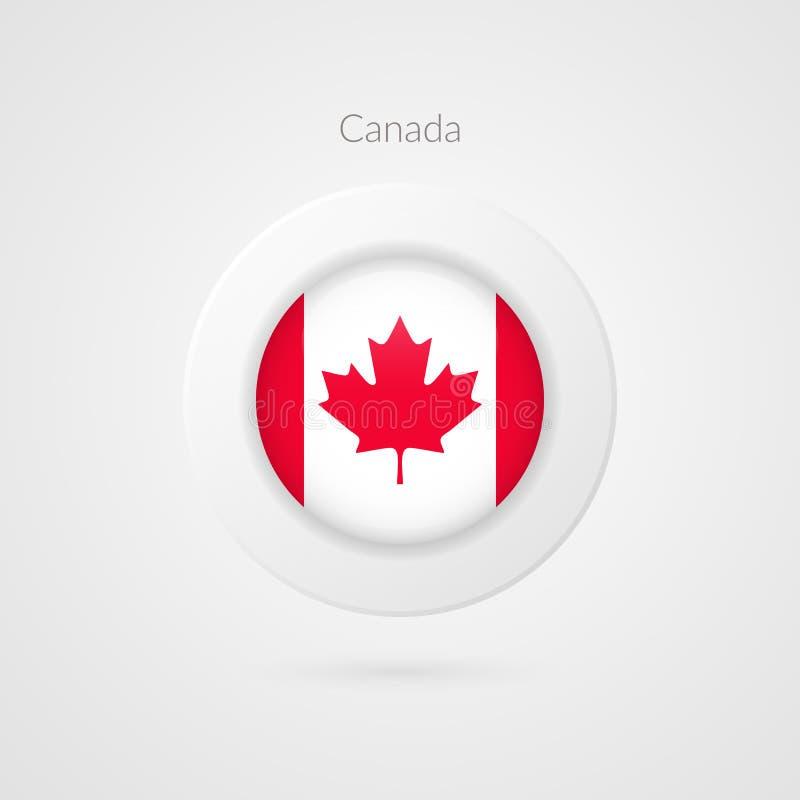 Muestra del vector de la bandera de Canadá Símbolo canadiense aislado del círculo Icono norteamericano del ejemplo Hoja de arce a stock de ilustración